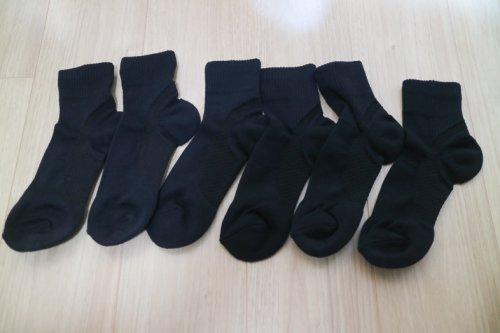 ワークマン(WORKMAN)購入商品アーチパワーアシスト靴下3足組 ミドルタイプ 先丸(クロ)画像