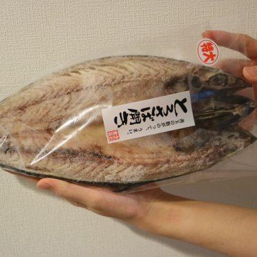 楽天ふるさと納税2018 みのだ食品の魚(干物)とろさば開きを手で持って大きさを比較している画像01