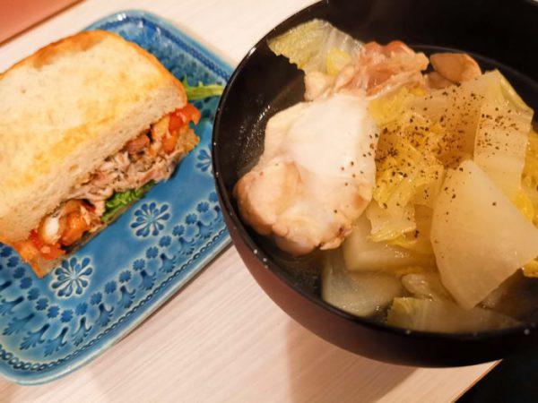 鯖サンドとスープ