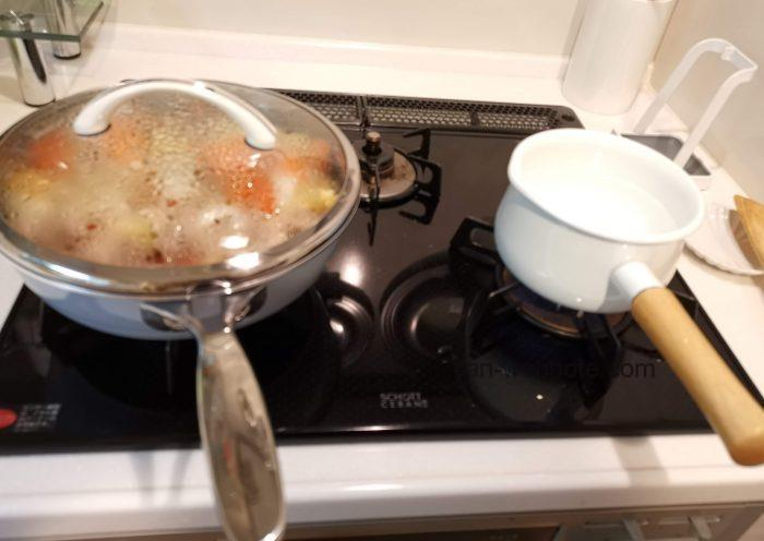 オールライト(深型フライパン)&富士ホーロー蓋付きミルクパン