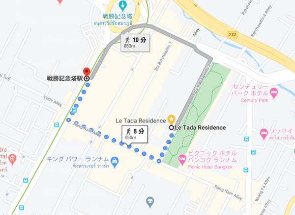 戦勝記念塔駅からホテルまでの徒歩時間(googlemap)