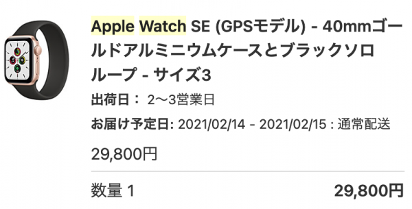 Apple Watch SE (GPSモデル) - 40mmゴールドアルミニウムケースとブラックソロループ - サイズ3